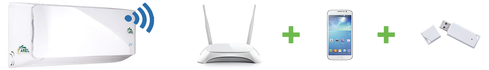 tecnologia Wifi Ready Ariel: app mobile + router wireless + adattatore wifi climatizzatore